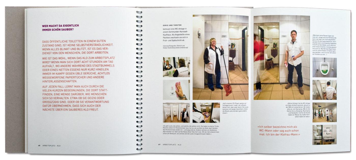 Besetzt: Arbeitsplatz Klo, Präsentation im Ausstellungskatalog: BESETZT! Geschichten im stillen Örtchen. Herausgegeben von Dr. Jochen Stemplewski Emschergenossenschaft / Lippeverband Essen 2010. ISBN 978-3-9814036-0-2