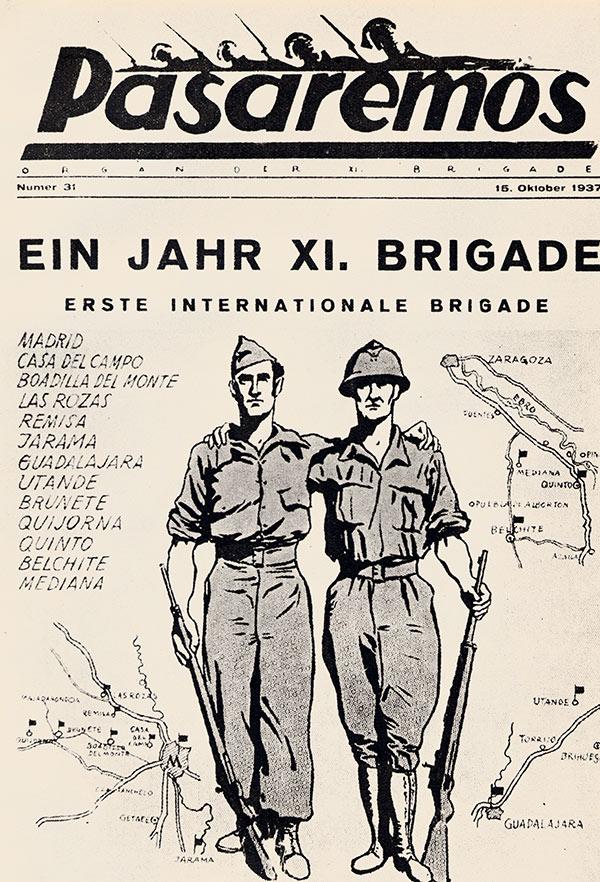 """Zeitschrift """"Pasaremos"""" der Internationalen Brigaden von 1937 in deutscher Sprache"""