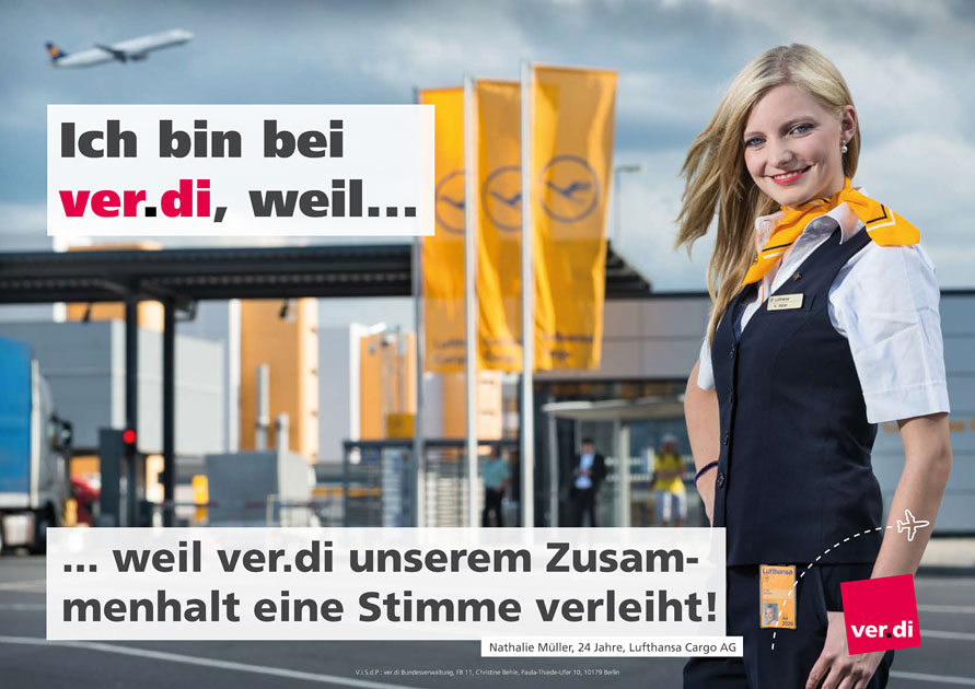 Plakatentwurf mit Verdi Lufthansa Cargo Mitarbeiterin - Foto © Dietrich Hackenberg