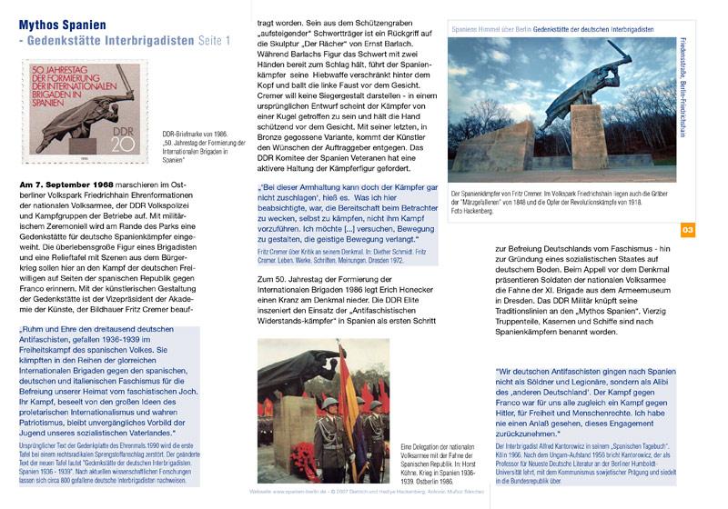 Preview PDF Spaniens Himmel über Berlin - Spanienkämpfer-Denkmal - Mythos Spanien – Gedenkstätte Interbrigadisten