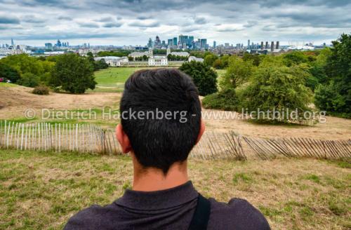 Blick auf die Docklands - Greenwich, London, Großbritannien - Das Geschäftsviertel Canary Wharf in den Docklands. Foto © Dietrich Hackenberg
