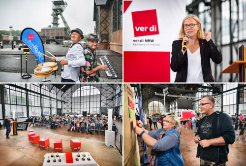 Zechenturm, Rednerin und Publikum - Zeche Zollern in Dortmund verdi Handel NRW Streikkonferenz - Foto © Dietrich Hackenberg