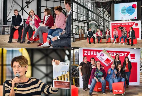 Diskussion, Rednerin und Frauengruppe - Zeche Zollern in Dortmund - verdi Handel NRW Streikkonferenz - Foto © Dietrich Hackenberg