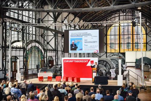Konferenzbühne Zeche Zollern in Dortmund - verdi Handel NRW Streikkonferenz - Foto © Dietrich Hackenberg