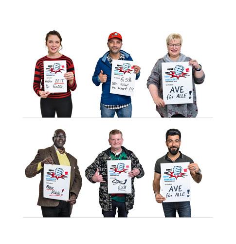 Freigestelltes Portraits von ver.di Betriebsräten - Mit mobilen Studio aufgenommen für Plakataktionen während Tarifverhandlungen - Foto © Dietrich Hackenberg